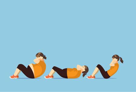 to sit: La mujer gorda cambia de cuerpo para adelgazar con hacer sentarse. Ilustración sobre perder peso. Vectores