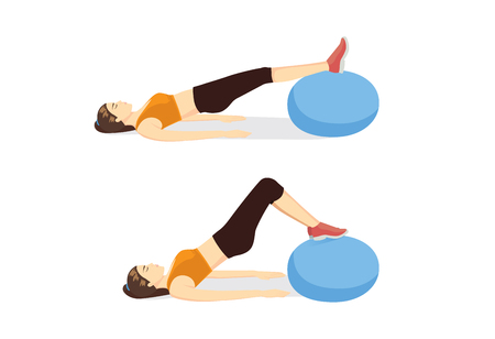 Gym ball exercise posture guide for get rid of lower belly fat. Illustration about workout with equipment.