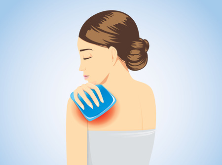 Cold pack on swelling shoulder of woman for relief of pain. Illustration about first aid equipment.