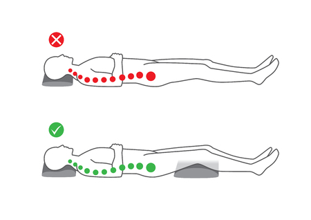 snoring: Correct posture to sleep on your back for supporting the spine and good health.