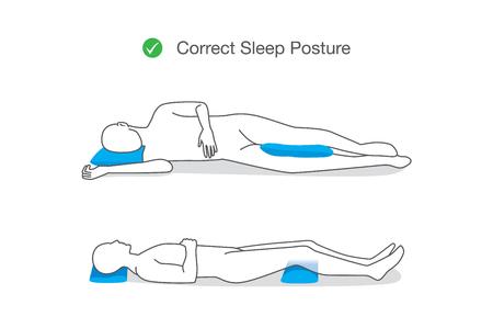 Postura correcta mientras duerme para mantener su cuerpo. Ilustración sobre el estilo de vida saludable.