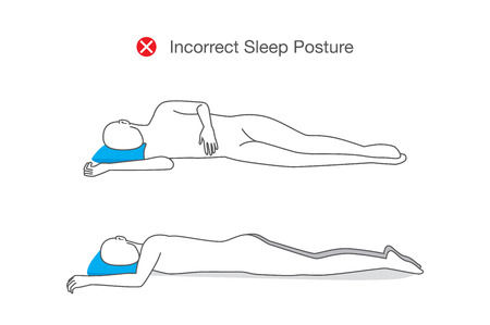 Incorrect sleeping positions can affect your whole body. Illustration about healthy lifestyle.