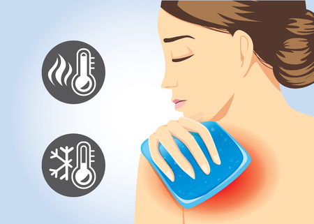 redness: Woman relief of shoulder pain with Cold and hot pack gel. Illustration about first aid equipment.