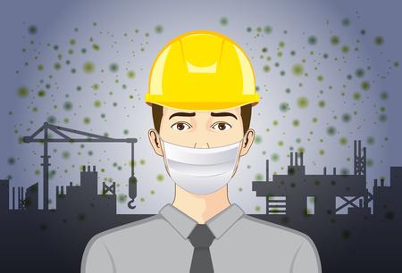 Ingeniero con máscara de respiración para proteger las partículas de polvo y la contaminación en el sitio de construcción.