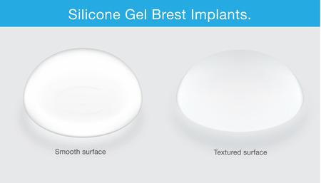 乳房インプラントのテクスチャーの違い。美容整形についてこのイラスト。  イラスト・ベクター素材