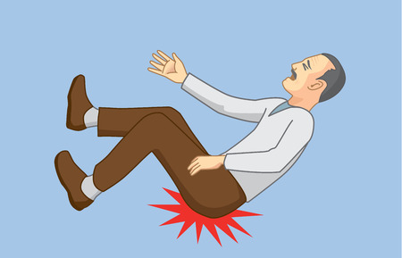 lower back: Old man with falling accidents and hip hit to the ground. Illustration about health of senior.