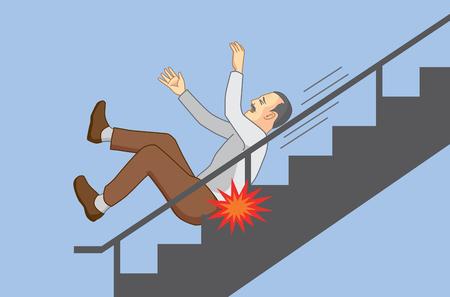 Alter Mann, der vom Treppenhaus fällt. Illustration über ältere Pflege. Vektorgrafik