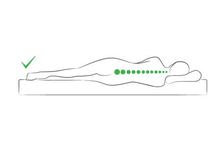 La alineación correcta de la columna cuando duerme en la posición de dormir lateral.