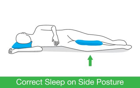 Korrigieren Sie Schlaf auf der Seite Haltung durch Platz ein Kissen zwischen Bein. Vektorgrafik