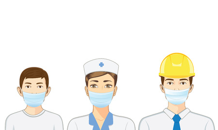 mask face: Nurse and kid and engineer wearing breath mask on isolated. Illustration