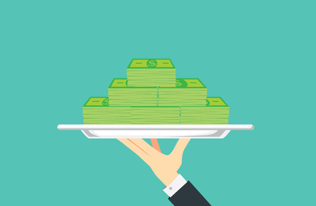 hand holding paper: Hand holding silver tray which have many banknote paste in it. Illustration about financial with catering concept.