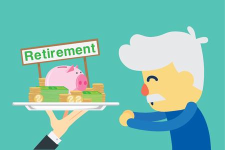 insist: Senior employee happy with get retirement money. Illustration about saving money. Illustration
