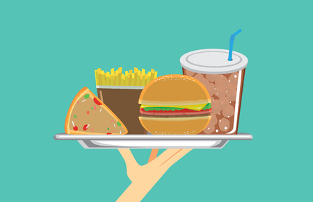 Hand holding a set of fast food in silver dish. Illustration about meal. Illustration