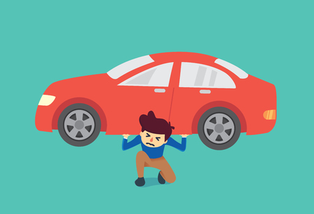 borrowing: Man kneeling on the floor because he have burden about car too heavy to carry. Illustration about spending.