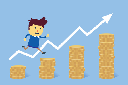 Man jump from a small pile of money to big pile of coins. Illustration about success in financial goals.