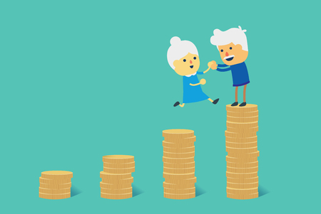Grandmother and grandfather jump to big pile of coin. Illustration about financial goal to retirement. Illustration
