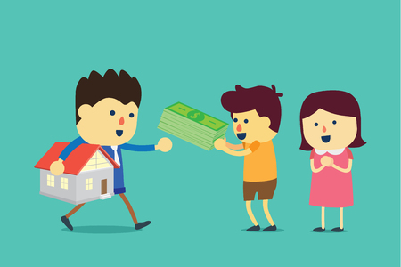 Husband and wife buying a home with cash. Illustration about transaction of property business. Illustration