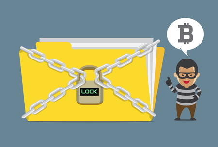 Hacker lock a data file and demand Bitcoin payment for unlock code. Illustration