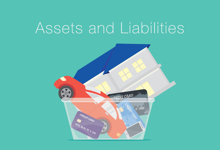liabilities: House and car and credit card and telephone in translucent box. Illustration about between assets and liabilities. Illustration