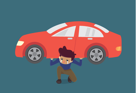 heavy risk: Man carry a red car on shoulder. Illustration about monthly installments too heavy. Illustration
