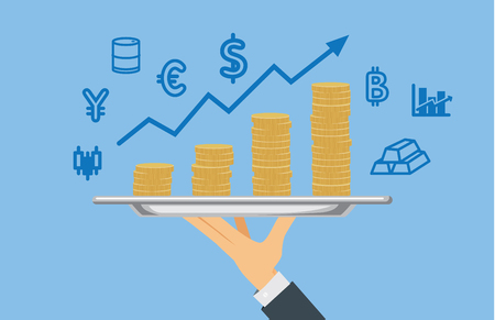 speculation: Hand holding pile of coin with stock trading icon. Illustration about take profit from investment.
