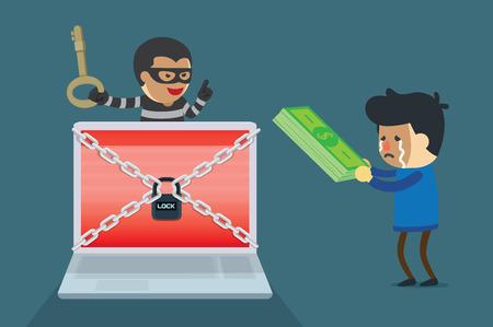 サイバー犯罪の需要お金の支払いとコンピュータ システムのロックを解除するキーを交換します。 写真素材 - 78496963