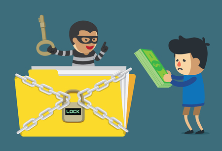 Man paying money to cyber criminal for unlock data file. Illustration about computer hacking.