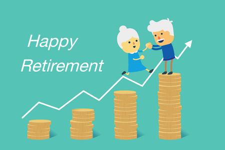 Het bejaarde paar springt aan grote stapel van munten voor gelukkige pensionering samen. Illustratie over financiële doelplanning.