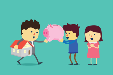 Husband and wife take a piggy bank to exchange for home. Illustration about buying property with savings.