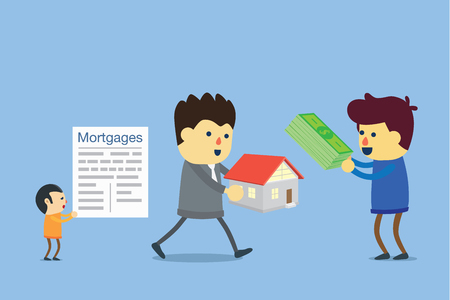 Property dealer attention to people who buy cash than people use a mortgage to buy house. Illustration
