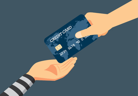 Hand of victim giving a credit card to robber. Illustration about fraud to identity theft when payment. 矢量图像