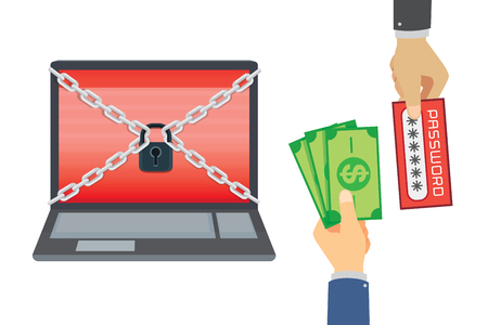 enchain: Businessman exchange money to password of laptop isolated on white. Illustration about selling the secret data.