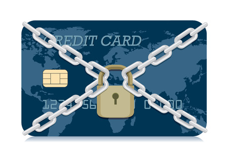 Vector Credit card locked with padlock and chain. Illustration about electronic money security system. Illustration
