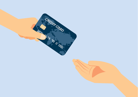 Hand giving a credit card to other hand. Illustration about quickly payment. 矢量图像