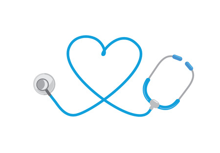 icon: Stethoscope and heart logo. Ideal for logo and icon about medical. Illustration