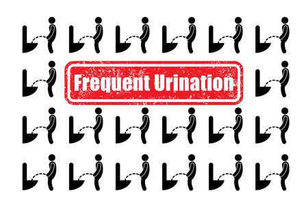 urination: Illustration about frequent urination from silhouette icon in simple style.