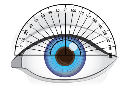 Blue eye of woman with protractor for angles check. Illustration about vision and eyesight. Illustration