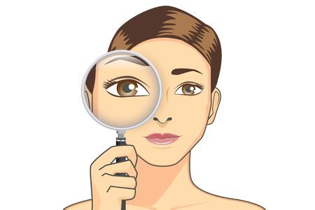 아름다움 여자 확인 돋보기를 들고 그녀의 눈. 그림은 시력에 대한 개념이다.