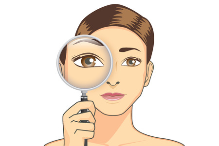Beauty woman holding magnifying glass for check her eye. Illustration is concept about eyesight. Illustration