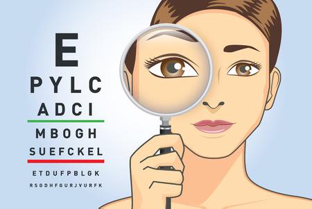 La mujer de la belleza que sostiene la lupa para comprueba su ojo con leyó las letras en la carta. Ilustración sobre la capacidad de enfocarse en la vista.