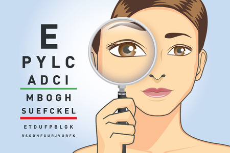 Beauty woman holding magnifying glass for check her eye with read the letters on the chart. Illustration about ability to focus of eyesight.