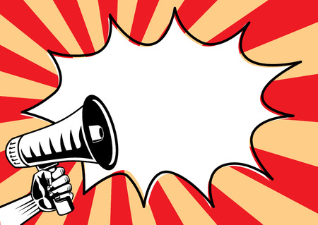 Atteindre un mégaphone et une bulle de discours sur un fond brillant. Illustration dans le pop art et le style rétro. Banque d'images - 80778688