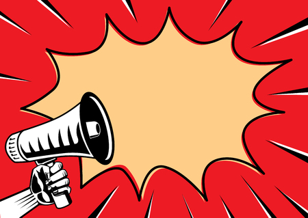 Reaching out a megaphone and speech Bubble on red background. Illustration in retro style and comic.