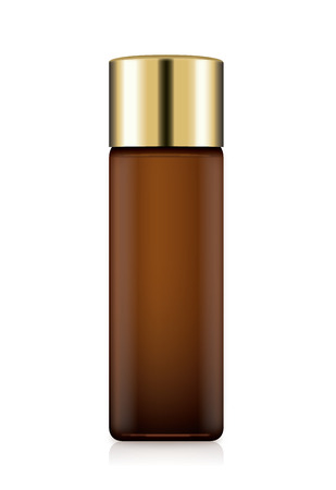 Cosmetic Bottle Amber color with gold cap isolated on white. Ideal for facial toner packaging.