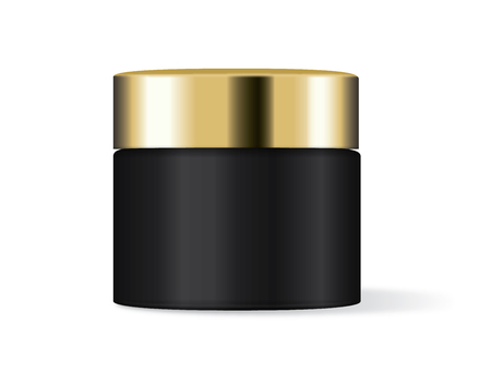 Black cream jar with gold lid. Ideal for cosmetic container template.