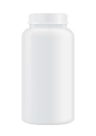 Vector white plastic bottle with screw cap, tall, no label on isolated. Ideal for whey medicine container or tablet or capsule product and other mock up.