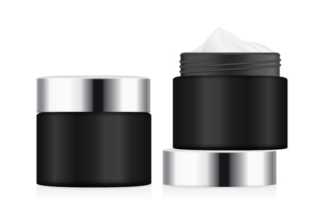 Black jar with silver lid opened to showing white foundation cream. illustration about cosmetic mock up. Illustration