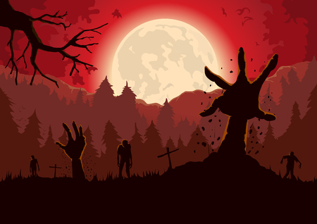 reach out: Silhouette Zombie arm reaching out from ground of grave in a full moon night and red sky.