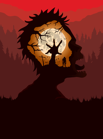 Double exposure of Silhouette Zombie screaming in Forest with hand of dead people rising out from ground in graveyard.