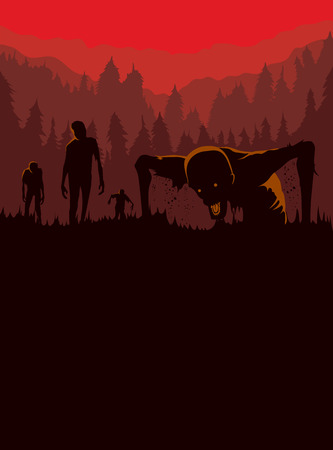 night out: Silhouette of Zombies horde resurrected out of the ground. Illustration about Halloween concept. Illustration
